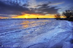 A beautiful sunrise over the frozen Snake River north of Idaho Falls.