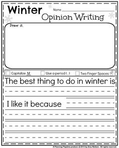 Kindergarten worksheets for January - Winter opinion writing.