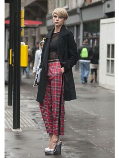 Jodie Norbury wearing a Topshop coat and trousers, Monkey top, ASOS shoes and Berksha bag
