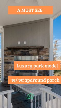 """What an absolutely beautiful home that hits all the """"want to have"""" buttons! With the modern design elements and neutral gray/white/cream colors it has a very high end and comfy feel. And the wraparound porch is simply perfect...#tinyhouseforus #tinyhouse #luxury #minmalist #minimalistichome #dreamhome #porchideas"""