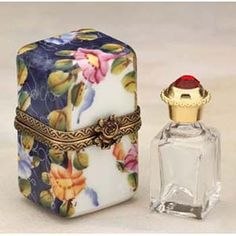 Limoges Trinket Box Painted with Roses and comes w' a Glass Perfume Bottle w' Jewel Top❤❦❤