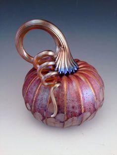 "Jack Pine Studio Hand Blown Glass Pumpkin Rose White Frit Small ""50295"""