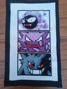 Pokémon Cross Stitch - Ghost Pokémon, Gastly, Haunter, Gengar