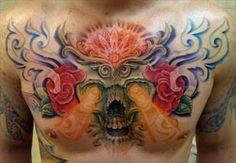 Juan Salgado - Skull chest tattoo