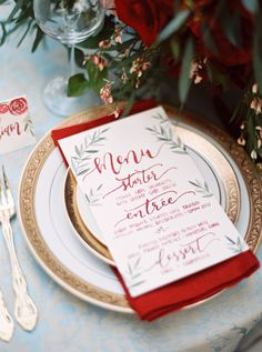 menu calligraphy - photo by Carolynn Seibert http://ruffledblog.com/rich-and-romantic-wedding-inspiration