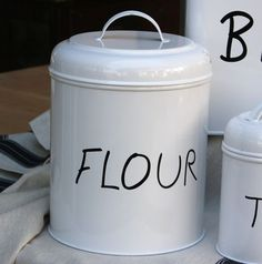 Décor & Accessories - Bay Tree Home & Decor Flour Canister, White Enamel, Canisters, Decorative Accessories, Kettle, Kitchen Appliances, Bathroom, Home Decor, Diy Kitchen Appliances