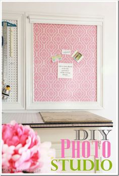 DIY mini photo studio - fabric bulletin board with a mini roller shade to use as back drops for product photo shoots