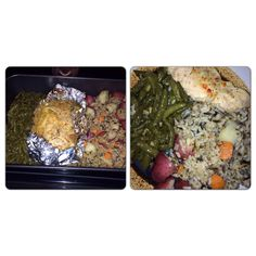 I have made something similar before but this tops it!!! You bake the chicken in foil, place in middle, with Italian dressing. Have wild rice already made and place on one side, then add chopped red potatoes and carrots on top of rice (add salt pepper and a little olive oil). Other side place green beans with brown sugar, salt, and pepper. Bake at 350 for about an hour. Is amazing!!! Add some of the sauce from the chicken on veggies and rice! Quick. Easy. Amazing.