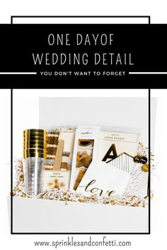 Ensure your wedding day starts off stylish! Personalize the bridal suite with beautiful decor as well as often forgotten essentials like cups & napkins for a much needed day of wedding pre-ceremony snack! Maid of Honor Wedding Boxes, Wedding Tips, Wedding Blog, Wedding Details, Wedding Planner, Wedding Day, Wedding Bride, Beach Bridal Showers, Bridal Suite