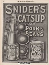1915 Snider's Catsup~Pork and Beans~Canned Food Antique Kitchen Decor Print Ad