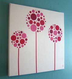 Modern Pink Purple Flowers Canvas Fabric Wall Art - baby, nursery, kids, custom colors available