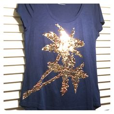 Express Navy short sleeve T-shirt Express short sleeve T has gold sequin Palm trees on the front. There are no sequins missing. Perfect condition, never worn. Express Tops Tees - Short Sleeve
