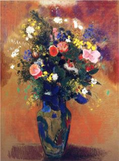 Hand painted oil painting reproduction on canvas of Bouquet in a Persian Vase by artist Odilon Redon as gift or decoration by customer order. Art Floral, Odilon Redon, Oil Painting Reproductions, Gustav Klimt, Henri Matisse, Henri Rousseau, Poster, Oeuvre D'art, Canvas Art Prints