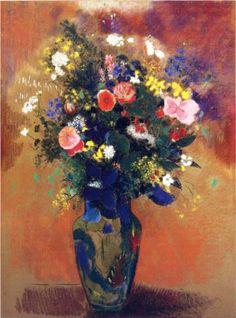 Large Bouquet of Wild Flowers - Odilon Redon