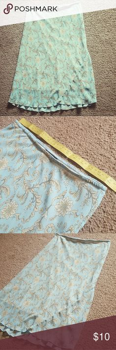 Knee-length Blue Paisley Skirt Light blue & yellowish peach paisley  Stretchy waist band, approximate measurement 13.5in A-List brand  Size Small  Ships next day Skirts Midi