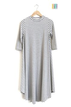 Heather Grey Striped Easy Dress | ROOLEE