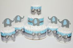 Chevron Blue And Gray Elephant Diaper Cake Baby Shower Centerpiece