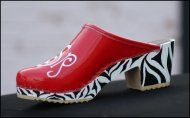 Red Patent With  Zebra High Heel.  One Of My Favorites. Uniblock Font In White Thread.