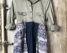 Up cycled Women's Tunic/Dress, Re cycled Stretch Denim, Repurposed Patchwork, One of a Kind, Romantic clothing, Funky and Fun