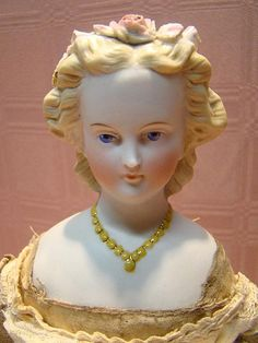 14 Inch Parian Type or Non-tinted Bisque Shoulder Head Doll with Unusual Hairdo and Molded Necklace