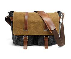Tekon British Style Retro Canvas Bag, in pelle Tela messaggero Traval Borsa a tracolla per il viaggio escursione del campeggio (Darkgrey)