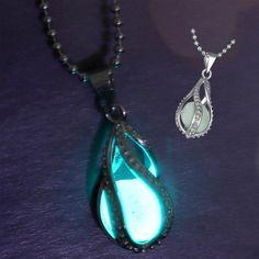 The Little Mermaid's Teardrop Glow in Dark Pendant Necklace