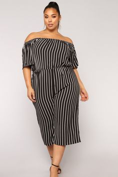 e5ec8eca1 Salt Water Dip Stripe Jumpsuit - Black White Striped Jumpsuit
