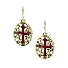 Express your faith with these shining gold tone drop earrings. A deep red enameled cross decorates a gold tone filigree oval medallion.