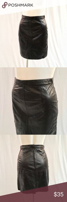 """Catrina 100% Leather Skirt Gorgeous black leather skirt by Catrina Ltd! 100% genuine leather. Has a back button and zip closure. Fully lined. Size 11. Length is about 19"""". Great condition! Catrina Skirts"""