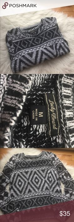 🍀Lucky Brand Tribal Print Sweater🍀 EUC! Absolutely no pulls, rips or stains! Smoke free home. Black & white tribal print Lucky Brand Sweaters Crew & Scoop Necks