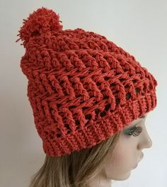 Bobble Hat for women and girls Terracotta £25.00