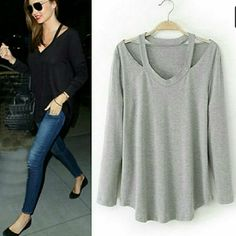 LIGHT GRAY LONG SLEEVE CUTOUT TOP PLEASE DO NOT BUY THIS LISTING. Let me know what size you want and I will create a separate listing for you. Cutout in the shoulder area. Wear with leggings or skinny jeans Tops