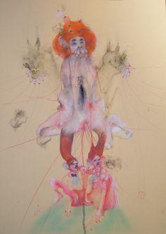 Anya Belyat-Giunta / All My Unborn Children V / 2012 / crayon de couleur et crayon liquide sur papier / 35 x 25 cm