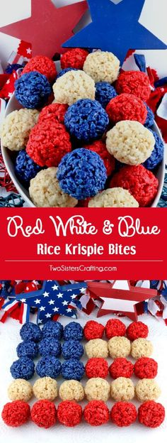 Red White and Blue Rice Krispie Bites - 18 All-American 4th of July Food List to Celebrate Our Nation's Birthday (rice krispy treats recipe kitchens)