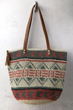 Billabong East of Dover Beige Woven Tote Bag 3 Crotchet Bags, Knitted Bags, Handbags Online Shopping, Tapestry Bag, Billabong, Macrame Bag, Crochet Purses, Cloth Bags, Tote Purse