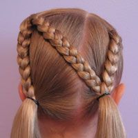 Letter N Hairstyle -Go Huskers!  Tons of little girl hairstyles.  Check out the hairstyle gallery!