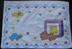 Crib Pillowcase Everyday Art Work: Baby Quilt Update: ABC-123 Baby Sheet, Pillowcase, and Quilt Top Cross Stitch