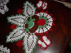 red roses, hummingbird, and butterflies, hand crochet doily