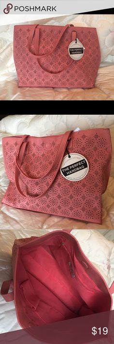 Selling this NWT Gorgeous coral tote bag purse Under One Sky ❤ on Poshmark! My username is: srmor. #shopmycloset #poshmark #fashion #shopping #style #forsale #Under One Sky  #Handbags