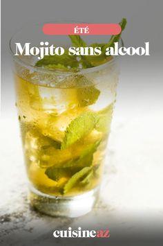 Une recette estivale de mojito sans alcool au jus de pomme. #recette#cuisine#cockail#mojito #sansalcool #jusdepomme Mojito, Shot Glass, Cocktails, Tableware, Apple Juice, Key Lime, Drink, Shave Ice, Craft Cocktails