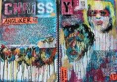 This double page includes my own research of Chrissy Angliker who incorporates  drips into her work which is either composed of portraits, landscapes, shapes etc. Since this is the basic theme she uses throughout her work i found it very inspiring in terms or the lively effect it creates. Because she uses vibrant hues, i found it exciting and worth being influenced by in my developing work.