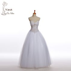 Real Images 2016 New Fashion Wedding Dresses Simple Floor Length Beading Sweetheat Ball Gown Organza Hot on http://ali.pub/g6l85