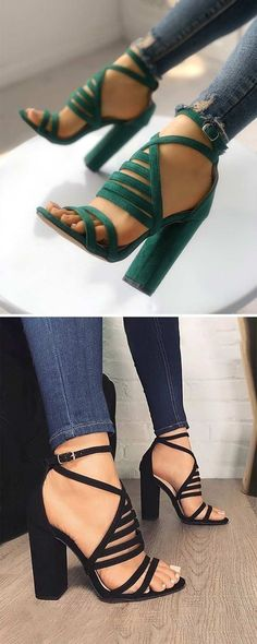 I think I might be able to walk in these sexy strappy heels! I think I might be able to walk in these sexy strappy heels! Dream Shoes, Crazy Shoes, Cute Shoes, Me Too Shoes, Heeled Boots, Shoe Boots, Heeled Sandals, Chunky Heel Sandals, Shoes Heels Wedges