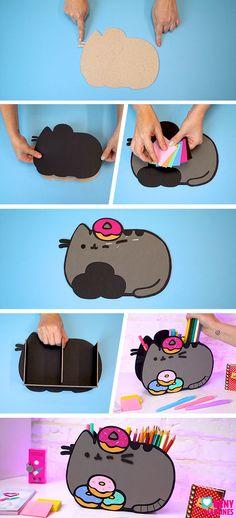Kids Crafts, Momiji Doll, Pencil Organizer, Kawaii Diy, Diy Bebe, Cardboard Crafts, Pusheen, Diy Room Decor, Diy For Kids
