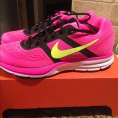 Women's Nike Air Pegasus +30 Hyper pink black volt. Nike Air Pegasus +30. Brand new...great looking running shoe...5 star rated. Nike Shoes Athletic Shoes