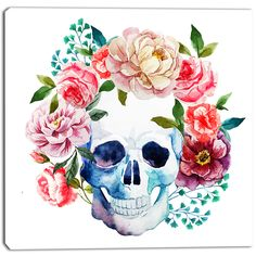 Designart - Skull Bouquet Vector Art - Contemporary Canvas Artwork