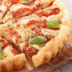 Tarte facile au jambon, tomates et chèvre