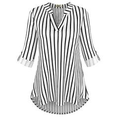 Viracy Striped Tunics for Women Sleeve, Womens Roll Sleeve Shirt Notch V Neck Loose Pattern Tunic Top (Large, Black Stripes) Tunic Shirt, Shirt Sleeves, Tunic Tops, Long Sleeve Tunic, Long Sleeve Tops, Manga 3 4, Tunic Pattern, Casual Tops For Women, How To Roll Sleeves