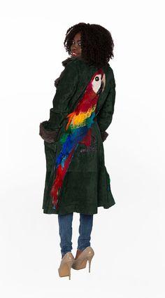 SALE Leather coat with parrot, suede women's winter jacket coat, green coat, women's winter outwear