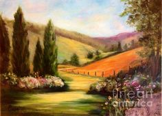 Tuscan View is a beautiful oil painting by Anne Barberi!